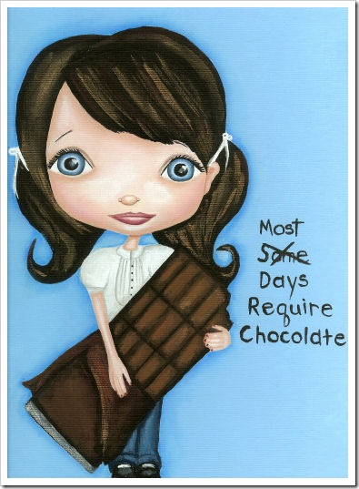blue eyed girl with chocolate candy bar