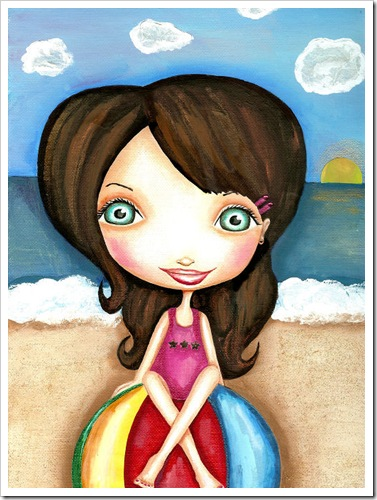 girl on a beach ball