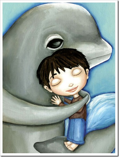 boy and whale dolphin sea creature
